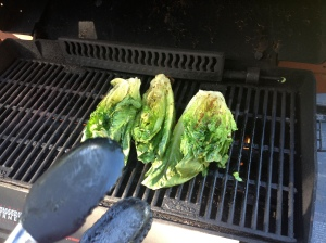 getting ready to take the lettuce off the grill [thanks to the tongs photo-bombing this pic!]